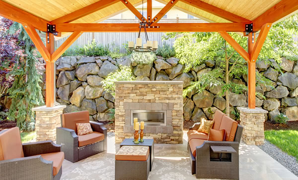 Outdoor Fireplace And Patio Design